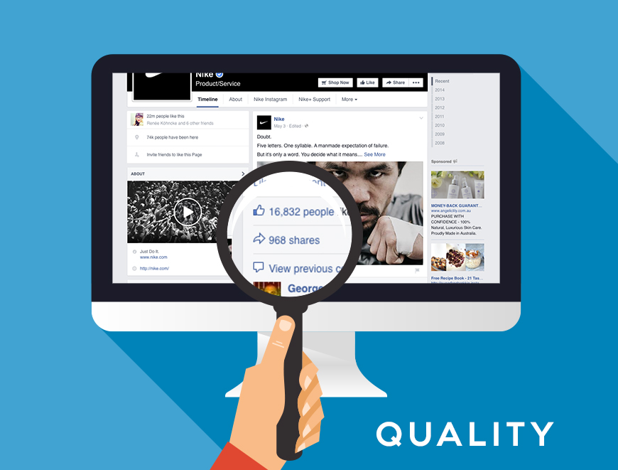 With Social media posts, quality is very important